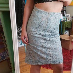 VTG 40s/50s Seafoam Color Lacey Pencil Midi Skirt